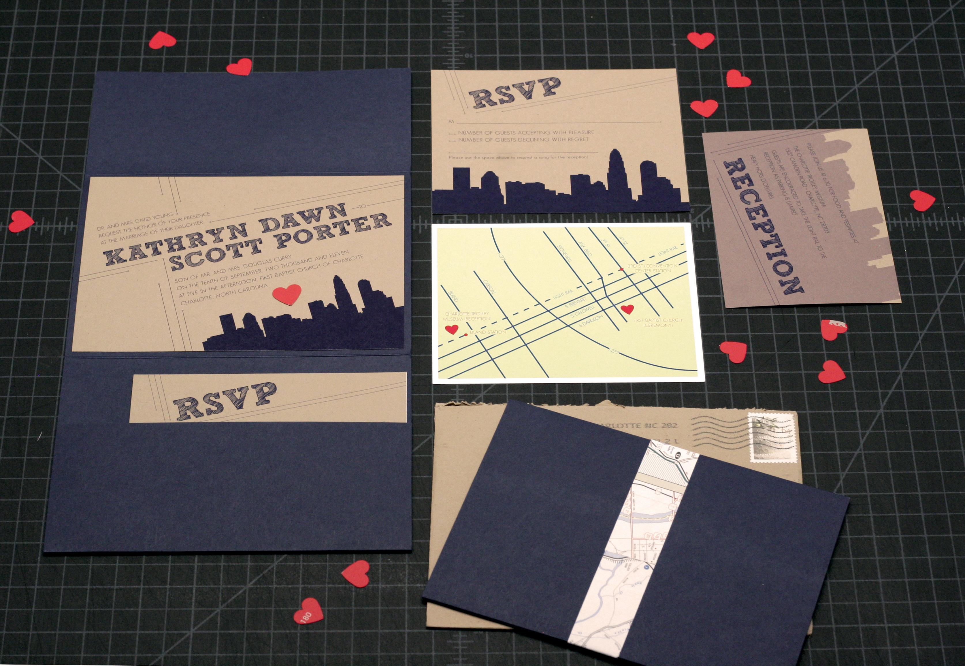 Custom Skyline • Charlotte Wedding Invitation Designer |